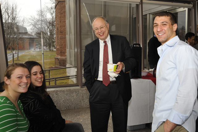 Prior to the dinner and reception, Richard Swanson mingled with the Red & Black Callers' managers during an ice cream social Feb. 26 in Zelnick Pavilion. Swanson hosted the reception to celebrate the students' leadership. The students, pictured, from left, are Casey Reed '12; Netta Levran '10; and David Bachy '10.