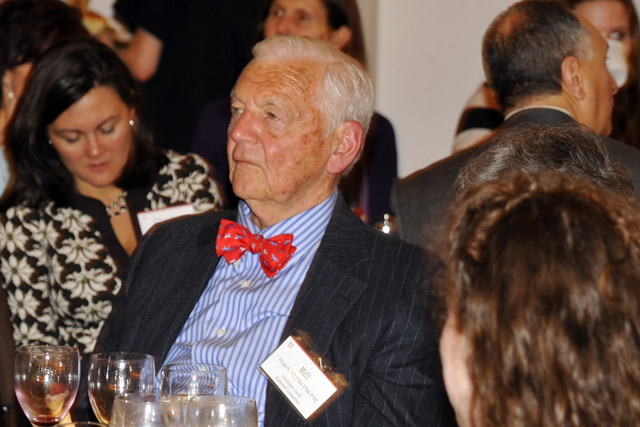 Christine Padian Bolzan '92 and Bill Wasch '52, P'84 listen to Swanson's talk.