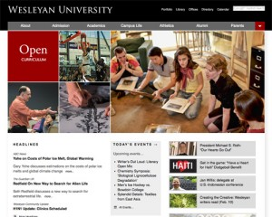 Wesleyan University's home page.