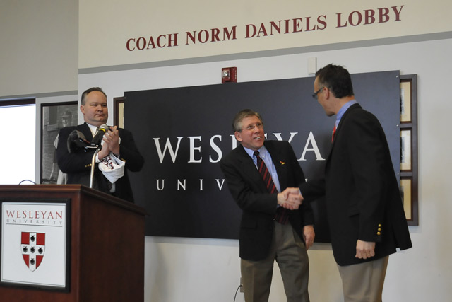 During the ceremony, Coach Whalen and President Roth also acknowledged John Biddiscombe, director of athletics and chair of the Physical Education Department. Whalen will assume the post on April 1. (Photos by Olivia Bartlett Drake)