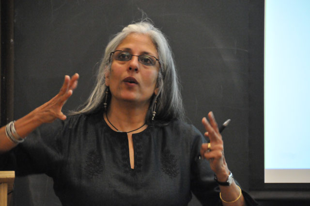 """Ania Loomba, Catherine Bryson Professor of English, University of Pennsylvania, spoked on """"Four Lives, feminism, nationalism and communism in India,"""" during the 23rd Annual Diane Weiss '80 Memorial Lecture in the Allbritton Center for the Study of Public Life"""