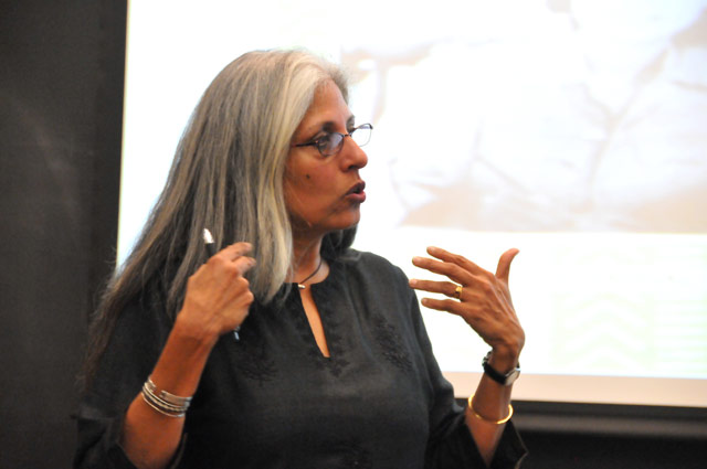 """Ania Loomba, Catherine Bryson Professor of English, University of Pennsylvania, spoked on """"Four Lives, feminism, nationalism and communism in India,"""" during the 23rd Annual Diane Weiss '80 Memorial Lecture in the Allbritton Center for the Study of Public Life."""