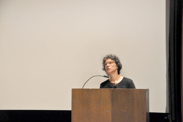 "Book artist, fine press printer and publisher Robin Price spoke on ""Chance and the Artist's Book (Thank You, John Cage)"" March 25 in the Center for the Arts Hall. Her lecture was followed by an opening reception at the Davison Art Center."