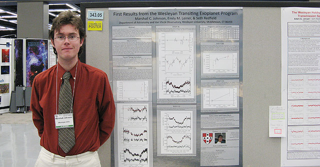 Marshall Johnson '11 presented his research poster at the American Astronomical Society (AAS) meeting, Jan. 10-13 in Seattle, Wash. The AAS awarded Johnson with the Chambliss Astronomy Achievement Award.