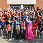 "International students shout ""Go Wes!"" during a group photo shoot Aug. 30."