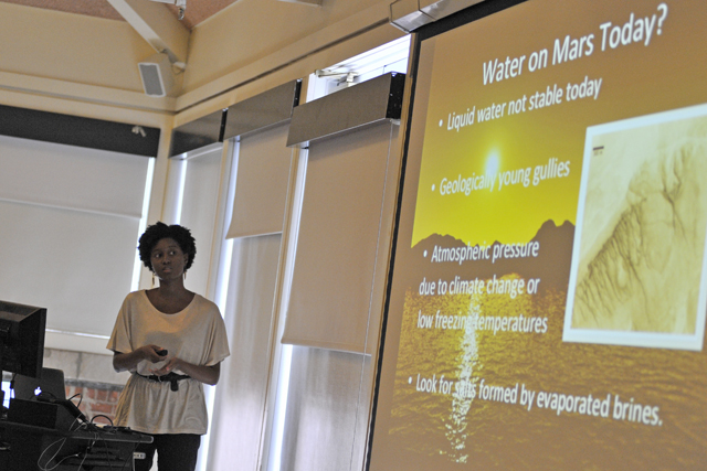 "McNair scholar Lavontria Aaron '14 studied ""Mars Brine Mineralogy"" this summer. Her research was sponsored by the Ronald E. McNair Post Baccalaureate Achievement Program."