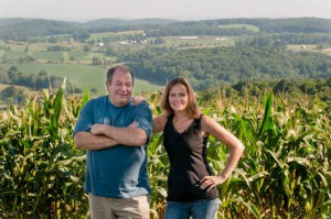 Rick Osofsky 66 and his daughter Kate 94, owners of Ronnybrook Farm Dairy in Ancramdale, N.Y., are providing the dairy products for Wesleyan.