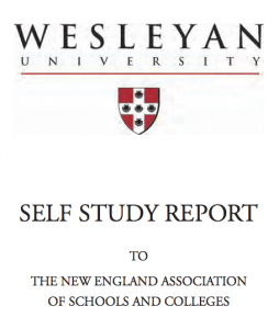 Wesleyan's self study report includes information on the university's mission, academic programs, finances, faculty, students, technical, physical and library resources, and public disclosure.