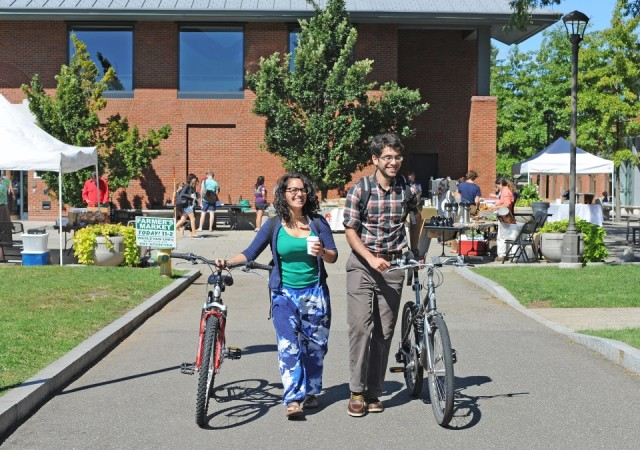 Students leave the Farmers Market on Sept. 19.