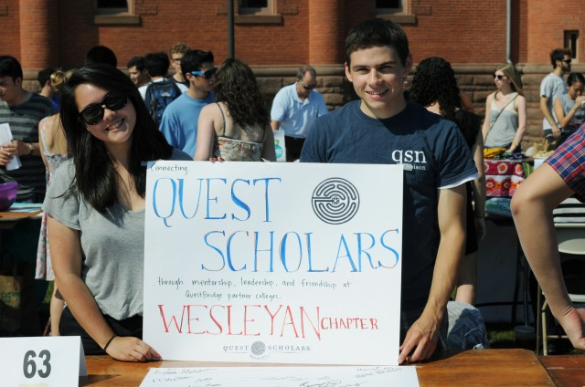 Representatives from the Wesleyan chapter of the Quest Scholars Network offered opportunities for high-achieving students from low-income backgrounds to build a supportive community through social and service activities
