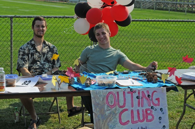 Surrounded by pine cones and branches, the Outing Club advertised their biking, hiking, canoeing, and rock climbing trips, mountain excursions, and camping adventures from the comfort of their Student Groups Fair table. (Photos by Bill Tyner '13)