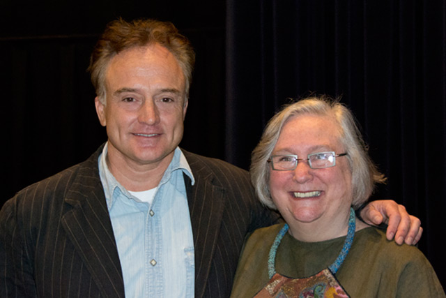 Actor Bradley Whitford '81 and Jeanine Basinger, Corwin-Fuller Professor of Film Studies and chair of film studies. (Photo by Cynthia Rockwell)