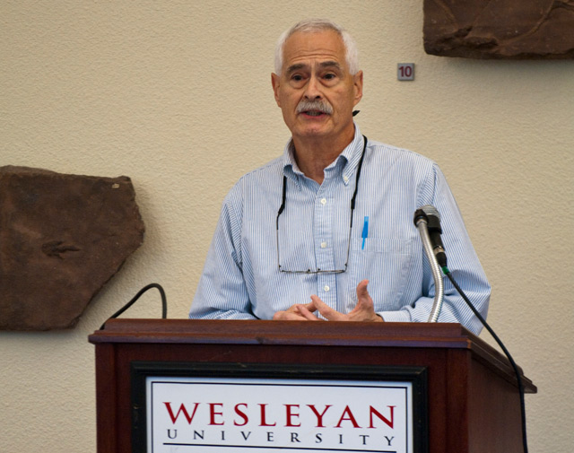 Richard Adelstein, the Woodhouse/Sysco Professor of Economics, chair of the Economics Department, tutor in the College of Social Studies, introduced Gold to the audience.