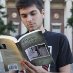 Raphael Linden '15 holds a copy of his grandfather's posthumous memoir.