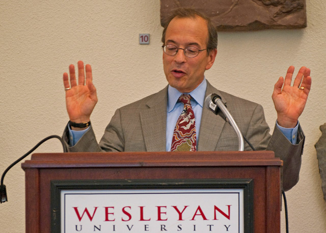 "Judge Steven Gold '77 P'09 spoke on ""Imposing Sentence: The Balance Between Affording Discretion and Avoiding Disparity"" at the annual Constitution Day Lecture Sept. 19. Wesleyan's event is part of a nationwide observance the U.S. Department of Education has mandated for educational programs in all federally-funded institutions."