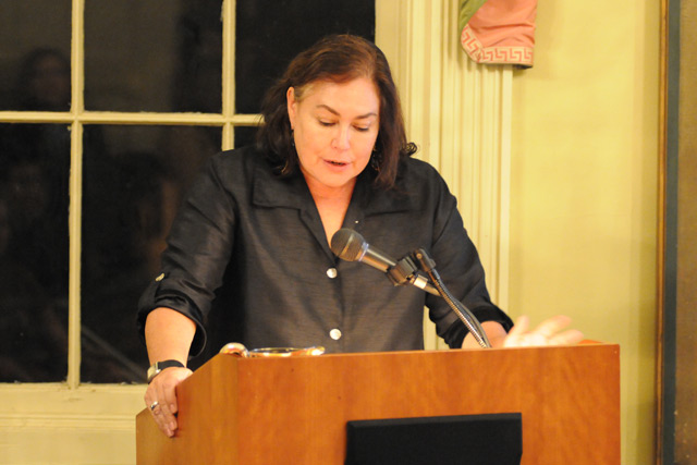 Amy Bloom, the Kim-Frank Family University Writer in Residence, introduced Bechdel to the audience at Russell House. Bechdel's visit was part of the Writing at Wesleyan Series for Prose and Poetry. (Photos by Bill Tyner '13)
