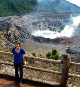 Audrey Haynes '12 stands stands in front of Poas crater lake in Costa Rica.