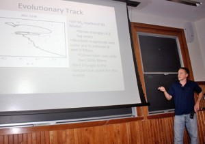 Astronomy major Mark Popinchalk '13 presents his research.