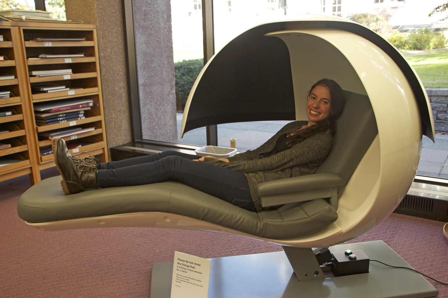 office sleep pods. emma gross u002715 tries out one of wesleyanu0027s new energypods in the science library oct office sleep pods