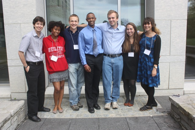 Seven Wesleyan undergraduates spoke during the annual Keck Northeast Astronomy Consortium meeting held at Middlebury College on Sept. 22. They presented the results from their summer research projects.