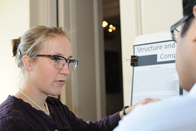 Laura Nocka 13 presented her research on Structure and Function of Holliday Junctions Complexed with Ions and HU Protein. Nockas advisors are Ishita Mukerji, dean of natural sciences and mathematics, professor of molecular biology and biochemistry, and David Beveridge, Joshua Boger University professor of the sciences and mathematics, professor of chemistry.