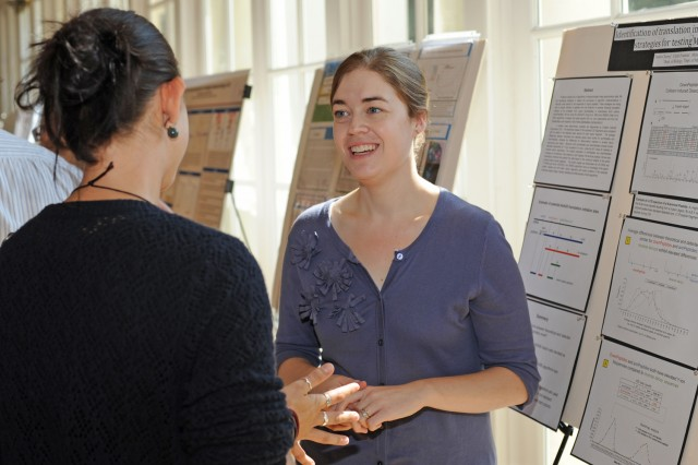 Graduate student Claire Fournier presented her research on Identification of translation initiation at downstream start codons: strategies for testing MS/MS search algorithms. Fourniers advisors are Michael Weir, director of Hughes Program in the Life Sciences, professor of biology; and Danny Krizanc, associate professor of environmental studies, professor of computer science.