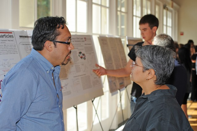 "Graduate student Fernando Vargas-Lara presented his research on ""Internal Structure of Nanoparticle Dimers Linked by DNA."" Vargas-Lara's advisor is Francis Starr, associate professor of physics."