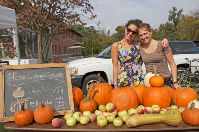 Arianna Fishman '13 and Hannah Cressy '13 sold pumpkins, apples and squash at the ninth annual Long Lane Farm Pumpkin Fest Oct. 6.