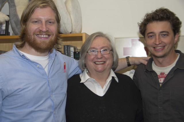 Indie Film makers Benh Zeitlin '04 and Dan Janvey '06 meet with Jeanine Basinger on Nov. 12. (Photo by Cynthia Rockwell)