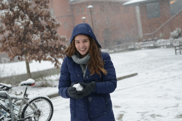 Rebecca Jacobsen '16 participates in a snow ball fight.
