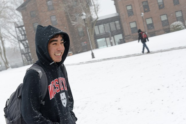 Rahul Deora '16 braves the blizzard.