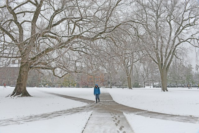 Natchanan Doungkaew '14 on a snowy College Row path.