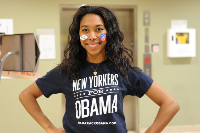 Sydney Lowe '13 sports her favorite candidate, and election winner President Obama!