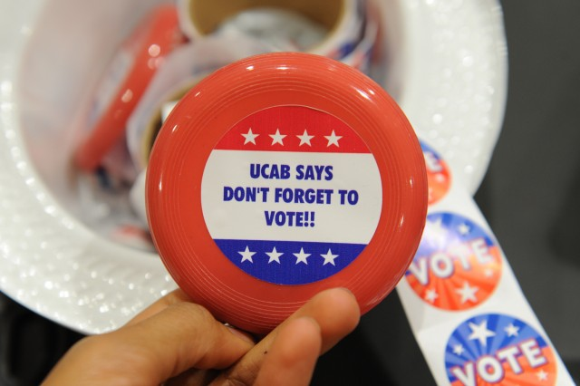 The Usdan Center Activities Board promoted voting with stickers and give-aways.
