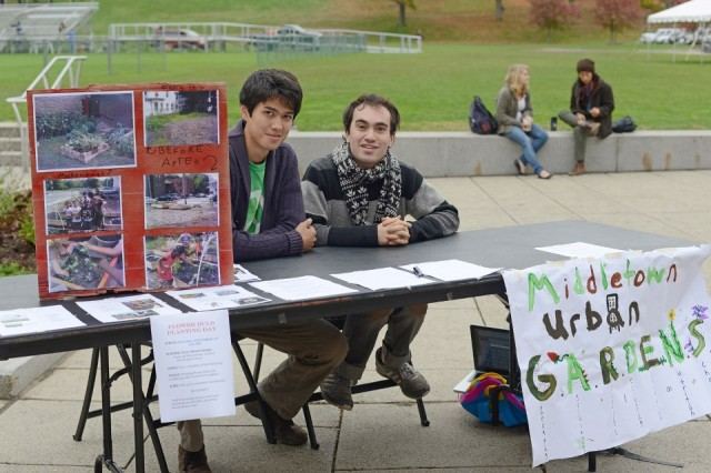 Several student groups, including the Middletown Urban Gardens organization, represented by Gerard Pierre '15 and Adin Vaewsorn '15, participated in Campus Sustainability Day.