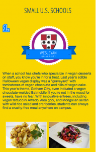 "Peta2 selected Wesleyan as the 2012 ""Most Vegan-Friendly College"" in the small U.S. schools category."