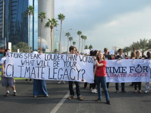 Wesleyan students participated in a Climate March down the Corniche, a palm-lined boardwalk along the Persian Gulf.