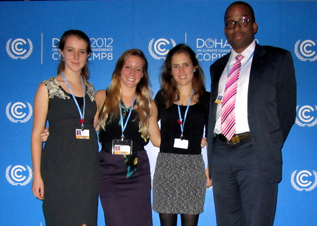 Chloe Holden '15, Samantha Santaniello '13, Sophie Duncan '13 and Michael Dorsey, fellow of the College of the Environment, visiting professor of environmental studies, participated in the United Nations Framework Convention on Climate Change (UNFCCC) in Doha, Qatar.