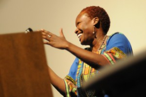 "Gina Athena Ulysse performs ""Voodoo Doll, What if Haiti Were a Woman?"" in the Center for the Arts."