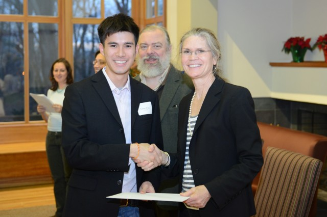 Chemistry major Nathan Wang '13 is a Freeman Asian Scholar from Hong Kong.  He is writing a thesis on the synthesis of mechanically-interlocked polymers. He plans to attend graduate school for materials chemistry.