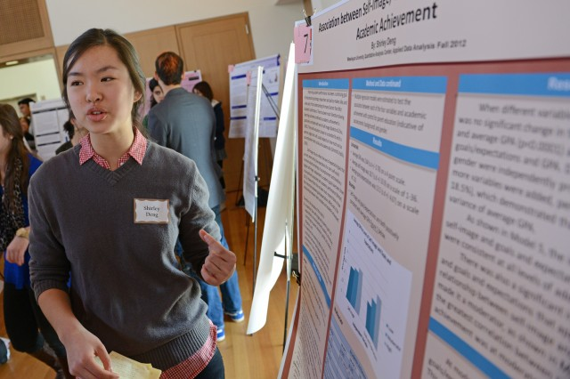 "Shirley Deng '14 shared her current research on ""Association between Self-image, Goals and Expectations and Academic Achievement."""