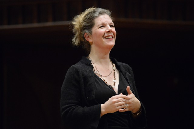 "Dar Williams '89, visiting instructor in public policy, spoke on ""Positive Proximity: What I discovered by touring in and about 500 cool American towns from Rockland, Maine to Fairbanks, Alaska."" Williams said, ""The word I came up with, that really anchors all of these building blocks, is 'translation.' This is the willingness to translate oneself … to their community."""
