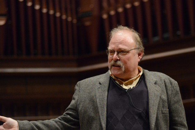 "Gil Skillman, professor of economics, tutor in the College of Social Studies, spoke on ""Wesleyan 2050."" ""What I want to talk about is Wesleyan as an institution which is by its nature a-rational in an economic sense,"" he said."
