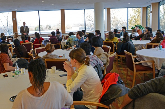Wesleyan President Michael Roth spoke with graduate students during a conversation and reception Jan. 22 in Daniel Family Commons.