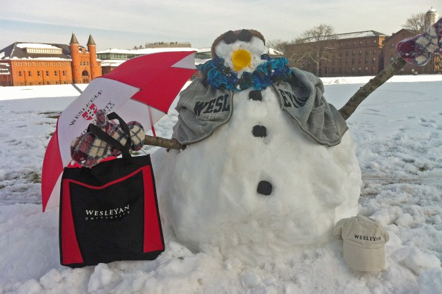 A WESnowman enjoys winter recess on Andrus Field, Jan. 17. (Photos and snowman fashion design by Olivia Drake)