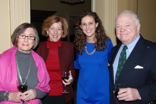 Alexis Sturdy visits with guests, from left, Elizabeth Feeney, Cindy Russo and Bernard Feeney.