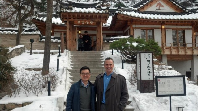 Wesleyan President Michael Roth visited with several alumni, students, prospective students and guests in Asia Jan. 12-18. He made stops in Seoul, Beijing, Hong Kong and Bangkok. President Roth is pictured here with William Choi '89 at Namsan Park in Seoul, Korea.