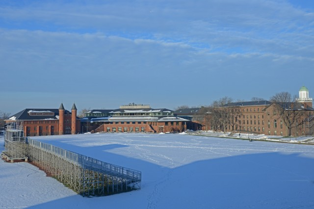A snowy Andrus Field on Jan. 4. Pictured is Fayerweather, Usdan University Center, North College and South College.