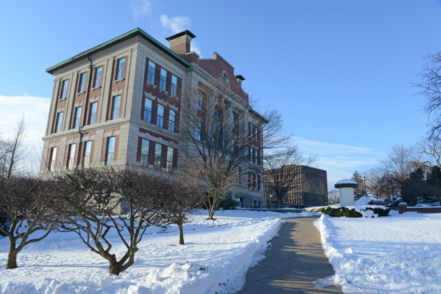 A cleared path leads to the Allbritton Center on Jan. 2.