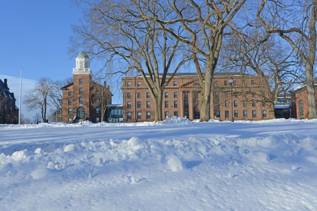 While students and faculty were away for winter recess, Wesleyan received a blanket of snow. Pictured is South College and North College on Jan. 2.